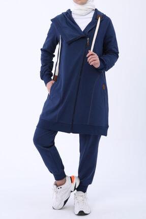 ALLDAY Kadın Koyu Mavi Asimetrik Eşofman Takımı