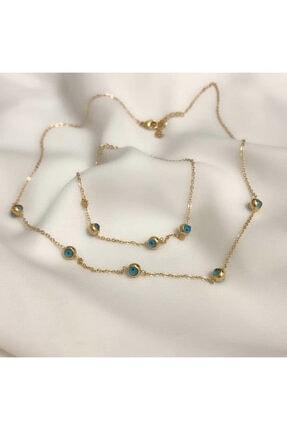 Dorika Accessories Kadın Gold Çelik Nazar Set