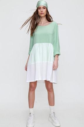 Trend Alaçatı Stili Kadın Mint Renk Bloklu Dokuma Elbise ALC-X6055