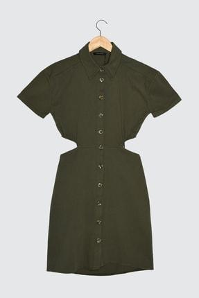 TRENDYOLMİLLA Haki Cut Out Detaylı Düğmeli Elbise TWOSS21EL1783