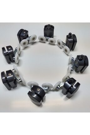 Akay Cam Duşakabin Tekerleği Siyah (çift Tekerlekli) 8'li