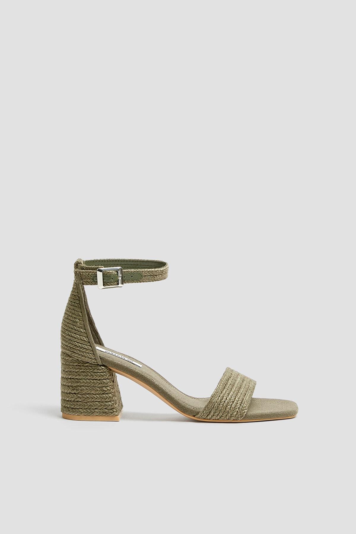 Pull & Bear Kadın Haki Yeşil Hasır Sandalet 11616540