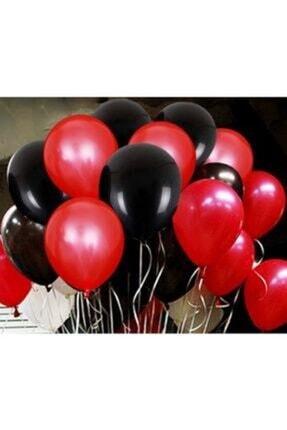 Renkli Parti 25 Adet Metalik Sedefli Kırmızı Siyah Karışık Balon Helyumla Uçan