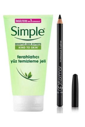 Simple Ferahlatıcı Yüz Temizleme Jeli Ve Flormar Göz Kalemi Siyah Eyeliner