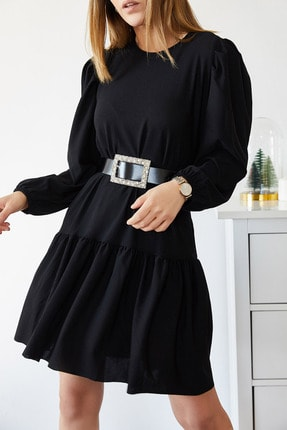 XHAN Eteği Fırfırlı Kolu Lastikli Elbise 9KXK6-43299-02