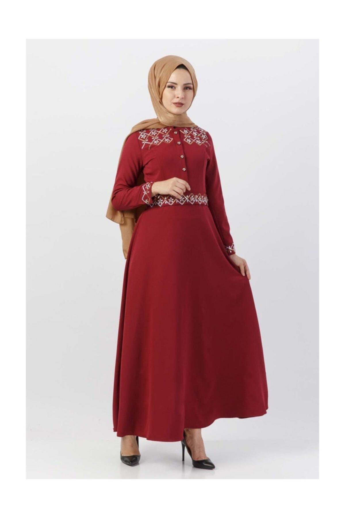 Tesettür Dünyası Pul İşlemeli Elbise Tsd9611 Bordo 1