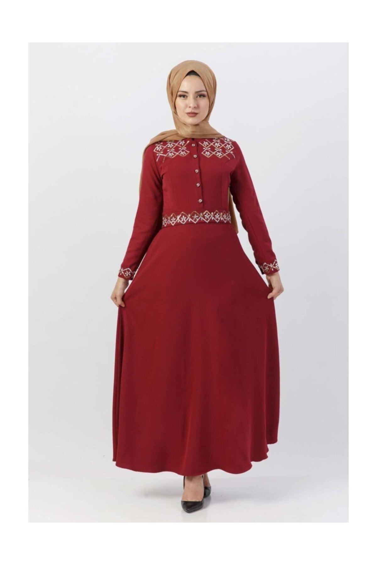 Tesettür Dünyası Pul İşlemeli Elbise Tsd9611 Bordo 2
