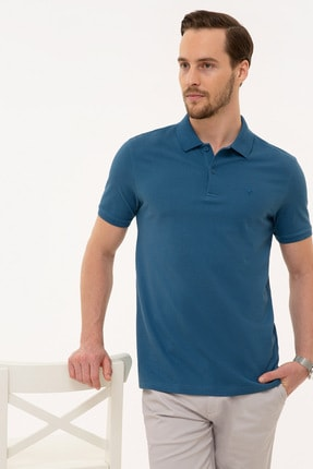 Pierre Cardin Erkek Mavi Slim Fit Polo Yaka T-Shirt