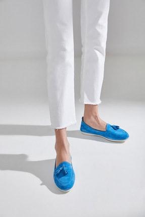 Hotiç Hakiki Deri Mavı Kadın Loafer Ayakkabı 01AYH172410A620