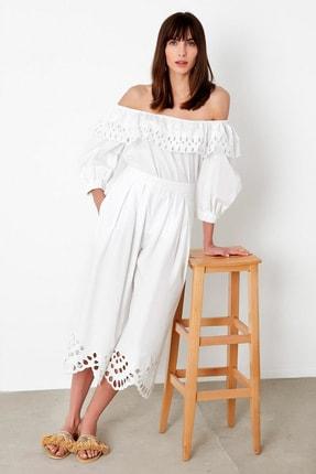 İpekyol Kadın Beyaz Beyaz İş Paça Pantolon IS1200003138002