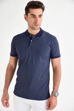 DYNAMO Erkek Lacivert Polo Yaka Baskılı Likralı T-shirt T355