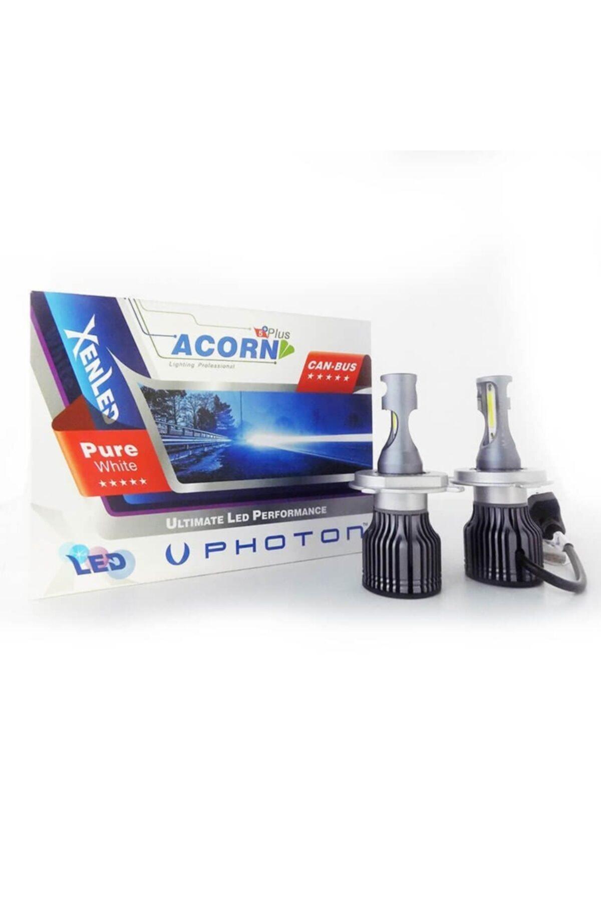 Photon H4 Mini Acorn 5+pluıs Led Xenon Şimşek Etkili Beyaz Zenon Far Ampulu 1