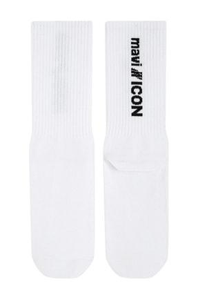 Mavi Kadın Icon Baskılı Beyaz Soket Çorap 198032-620