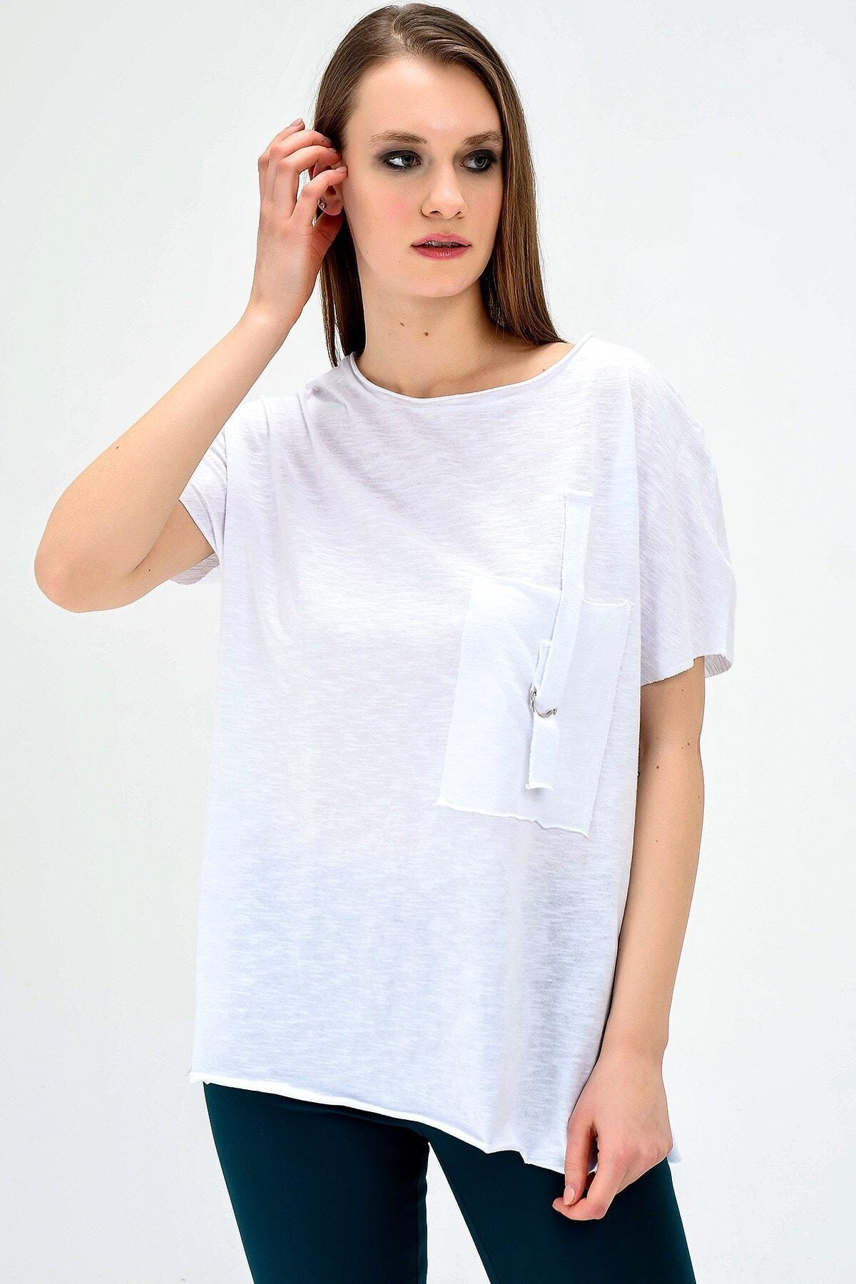 Jument Lycrasız Geniş Sıfır Yaka Düşük Omuzlu Cepli Bluz 1
