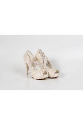 Karaca Boncuklu Tül Bağcıklı Kadın Ayakkabı