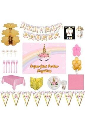 UNICORN Lüks Doğum Günü Parti Malzemeleri Afişli Set 16 Kişilik