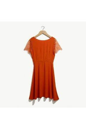 Yargıcı Kadın Kiremit Dantel Detaylı Elbise 8YKEL7130X