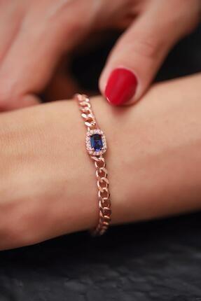 İzla Design Safir Taşlı Zincir Model Rose Kaplama Gümüş Bileklik