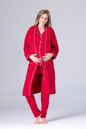Pijama Denizi Lüks Lohusa Pijama Takımı Seti %100 Pamuk Koyu Kırmızı