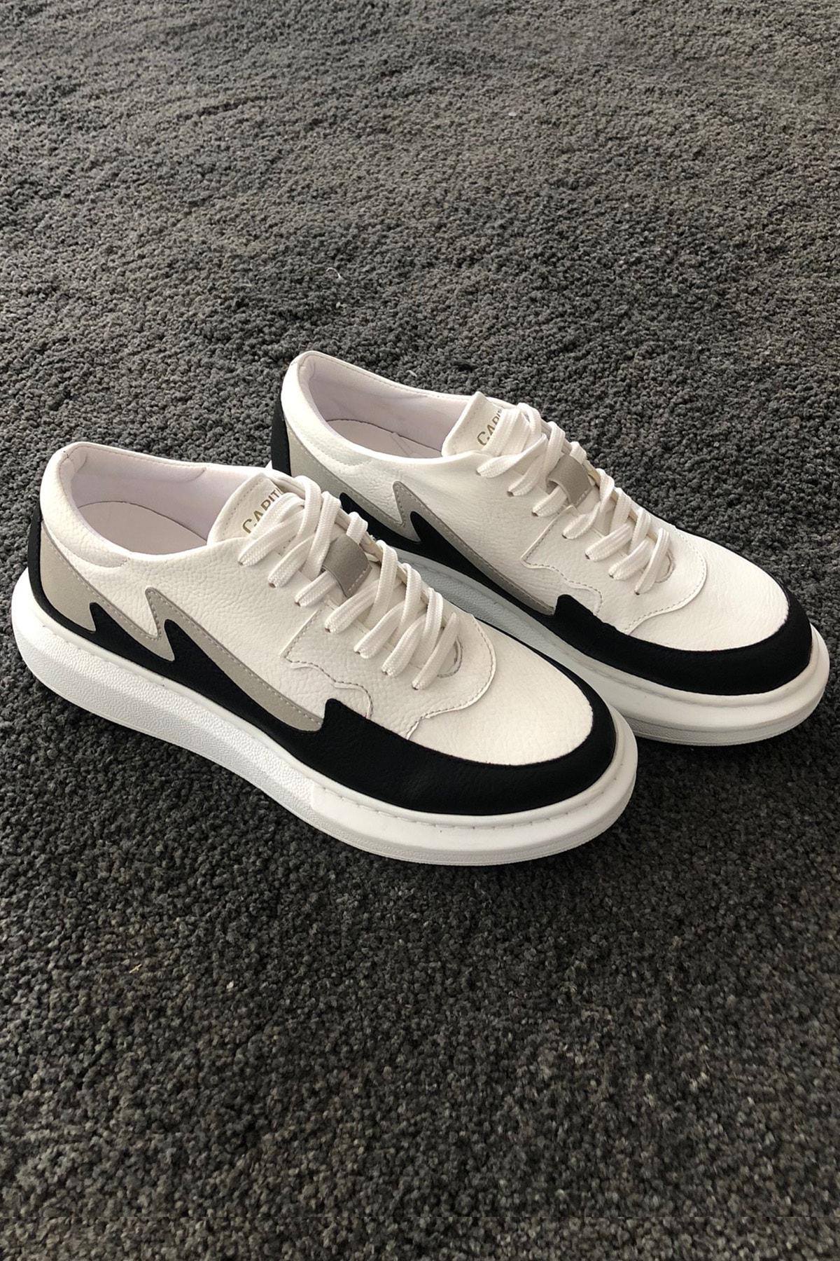 DE PLEIN Capitano Sneaker Beyaz-Siyah Erkek Ayakkabı 1