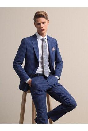Kip Erkek Mavi Çizgili Dokuma Takım Elbise