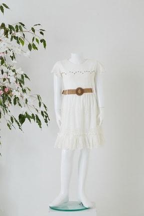Pafim Çocuk Beyaz Yarım Kol Dantel Elbise