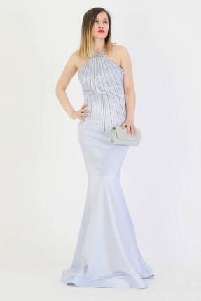 Günay Giyim Kadın Mavi Boyundan AskıIı Abiye Elbise 11273200005104