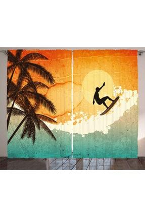 Orange Venue Yaz Perde Sörfçü Ve Palmiye