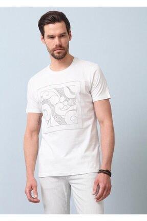 Ramsey Erkek Ekru Desenli Örme T - Shirt RP10119976