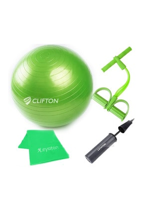 Clifton 65 cm Yeşil Dura-Strong Deluxe Pilates Topu+Body Trimmer +Pilates Bandı + Pompa Set