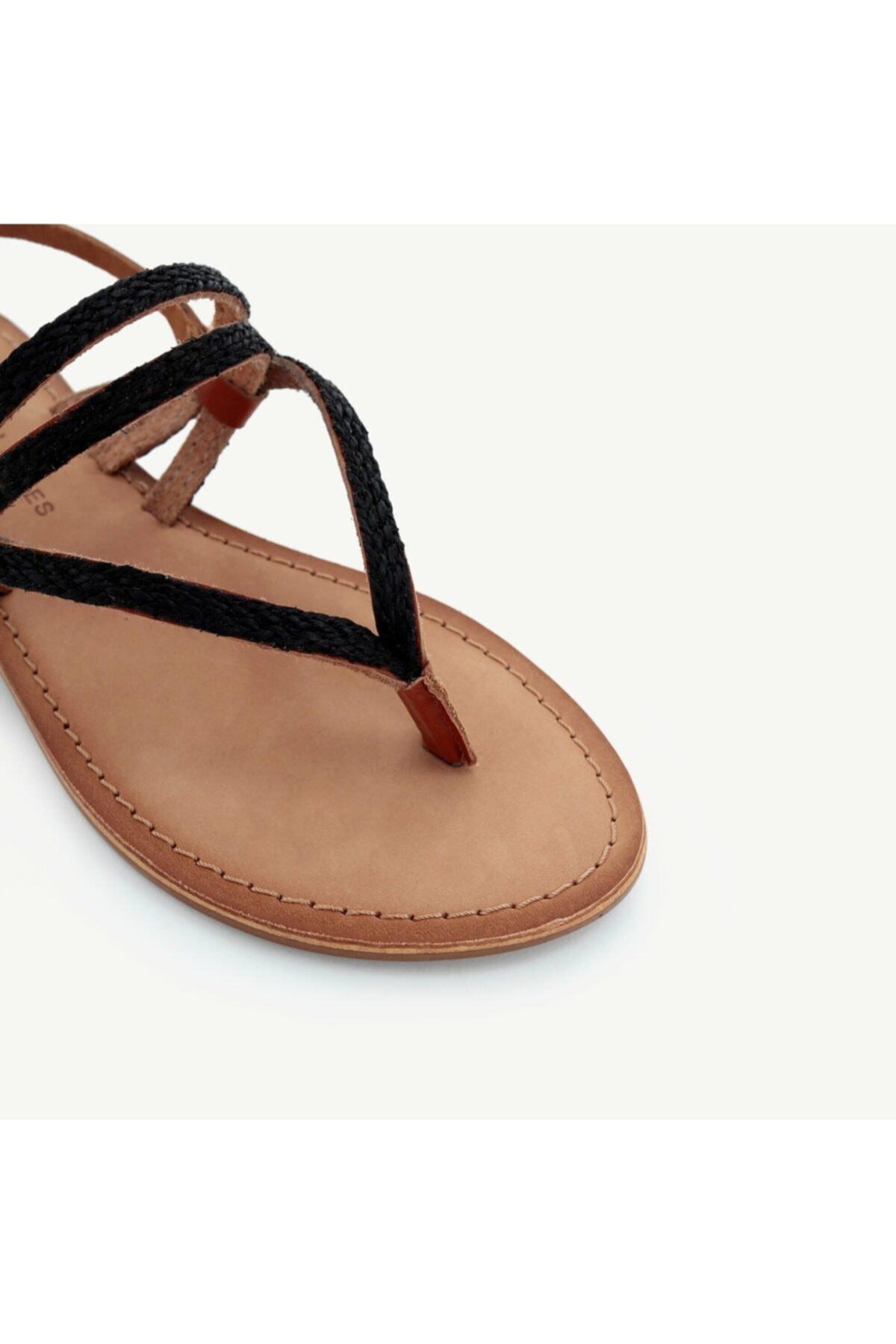 Yargıcı Kadın Siyah Deri Sandalet 9YKAY4027X 2