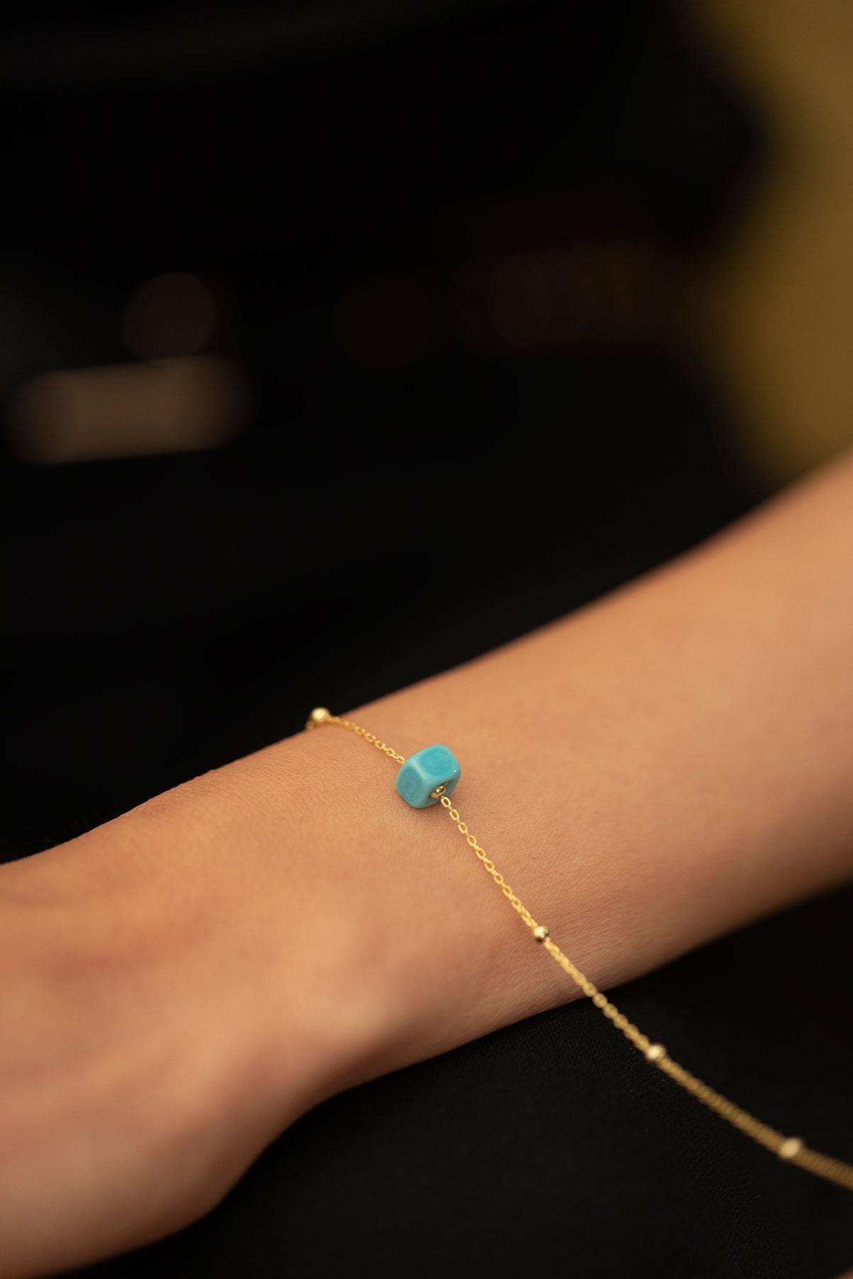İzla Design Kadın Mavi Boncuk Model Toplu Altın Kaplama Gümüş İtalyan Bileklik PKT-TLYSLVR0063 2