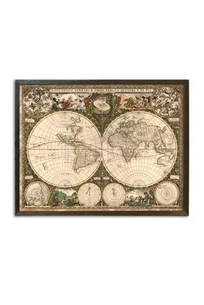 Sticker Sepetim 1800s Latince Tarihi Dünya Haritası Vintage Çerçeveli Ahşap Tablo