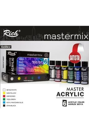 ADDA Rich Mastermix Özel Akrilik Boya Seti 6 Renk X 60cc. 6'lı Akrilik