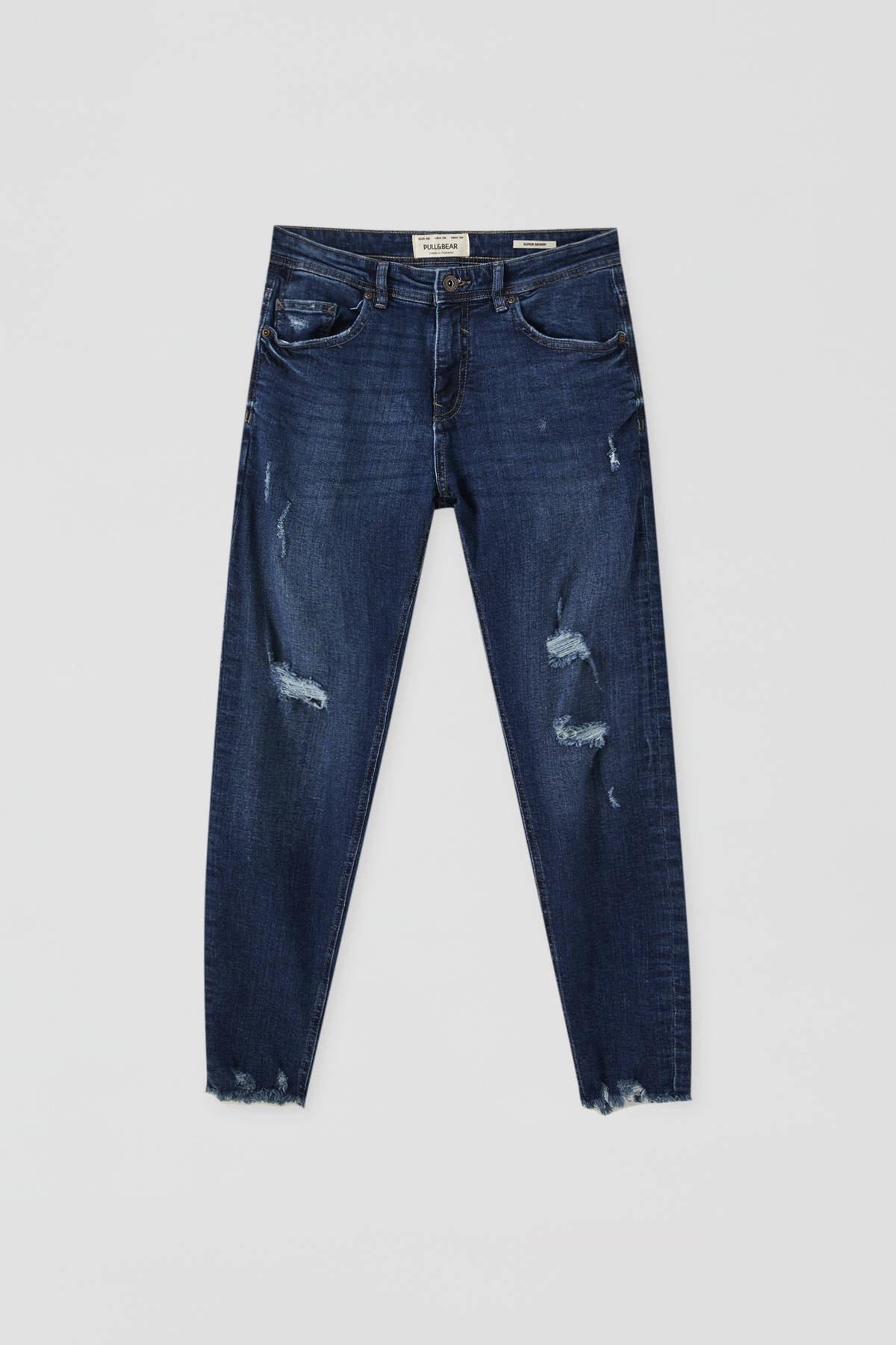 Pull & Bear Erkek Koyu Mavi Distressed Detaylı Basic Super Skinny Fit Jean 09683500