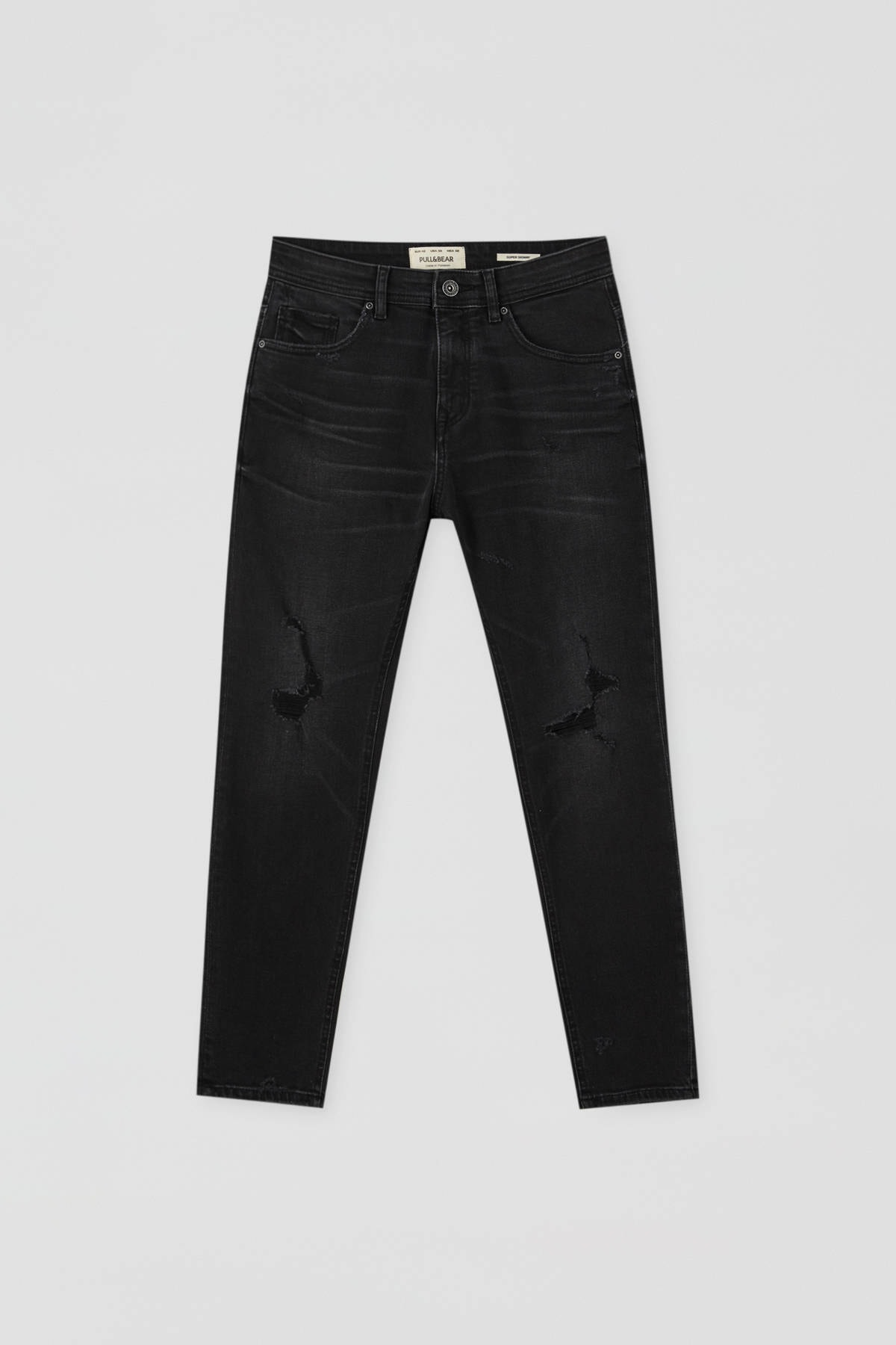 Pull & Bear Erkek Soluk Siyah Distressed Detaylı Basic Super Skinny Fit Jean 09683500