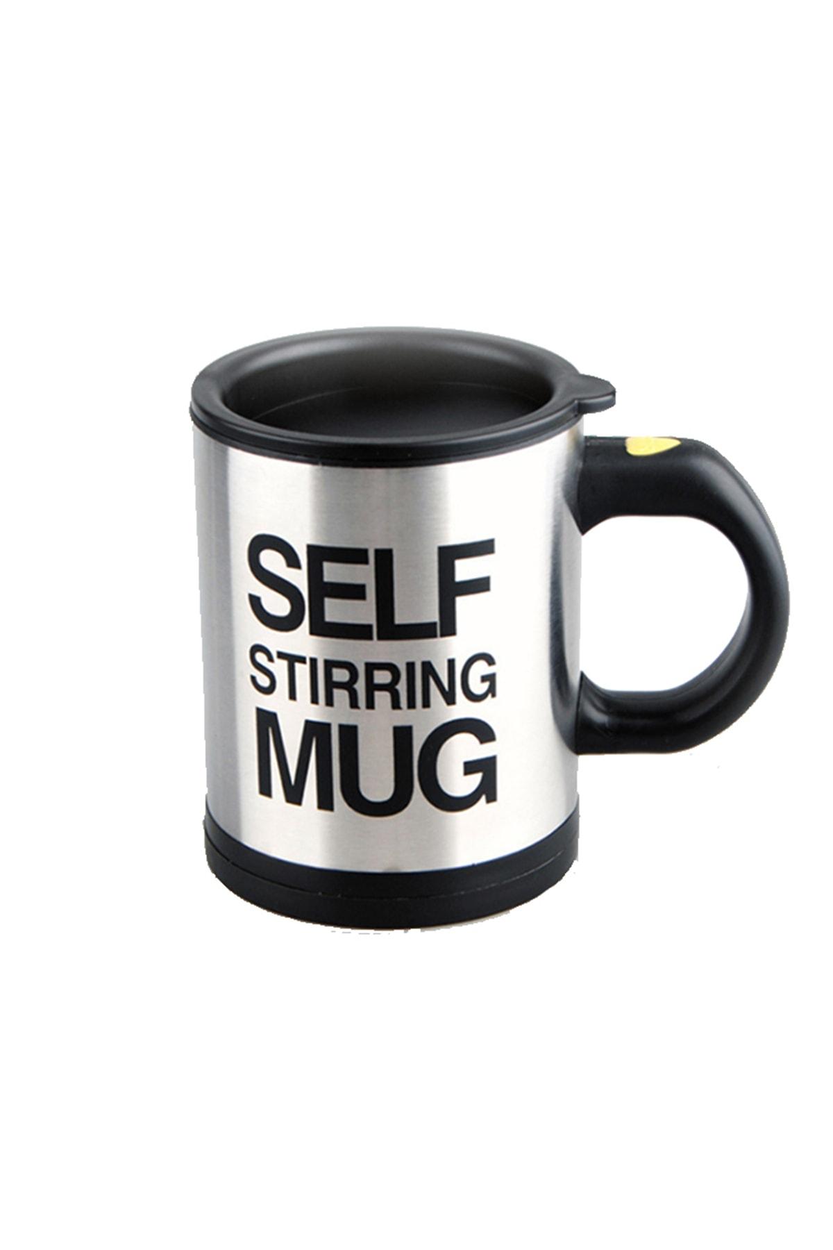 Patladı Gitti Kendi Kendini Karıştıran Mikser Kupa Termos Bardak; Self Stirring Mug - Siyah 1