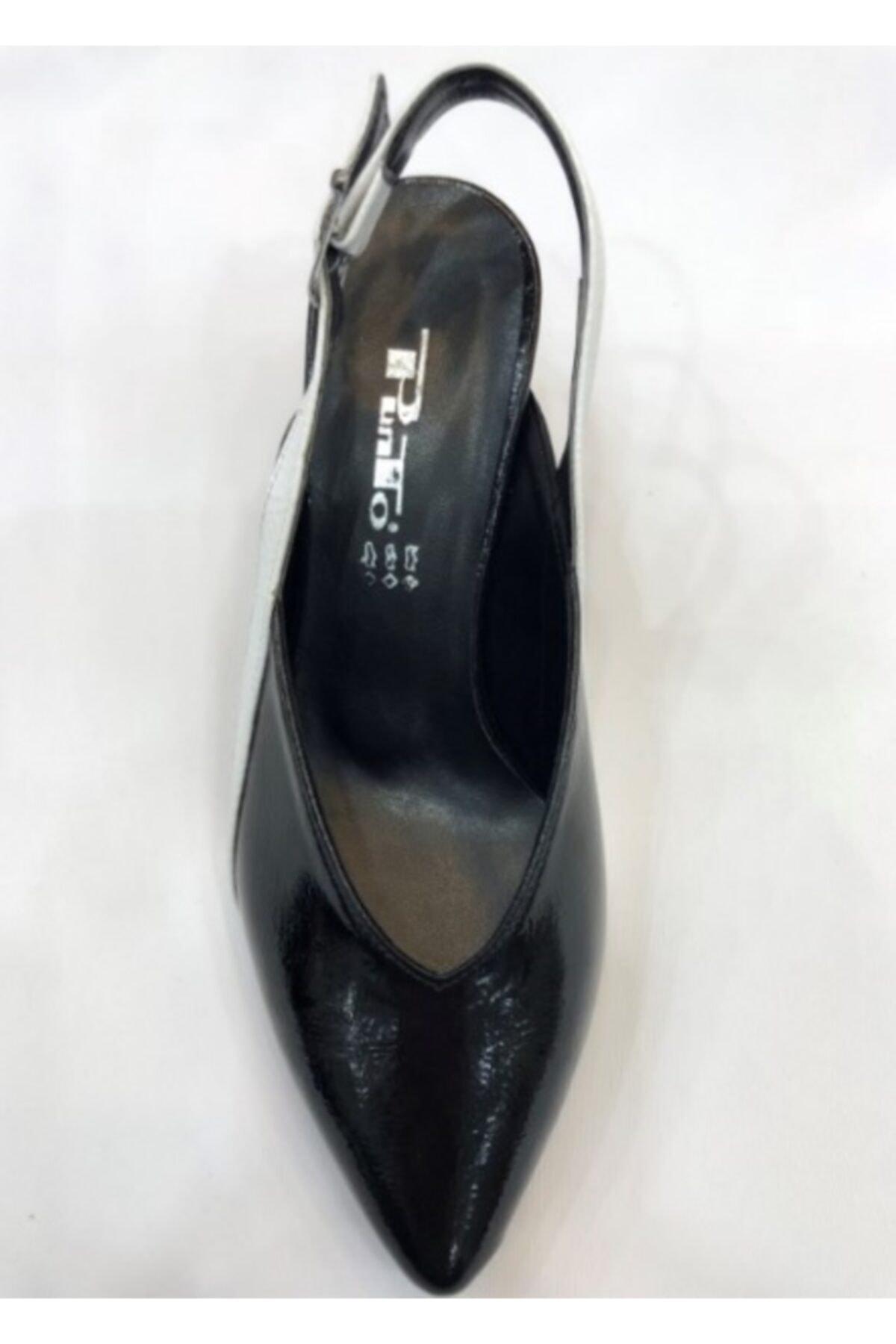 PUNTO 667909 Siyah Beyaz Kadın Sandalet 2