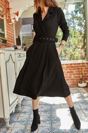 XHAN Kadın Siyah Çift Cepli Kemerli Elbise 9yxk6-41806-02