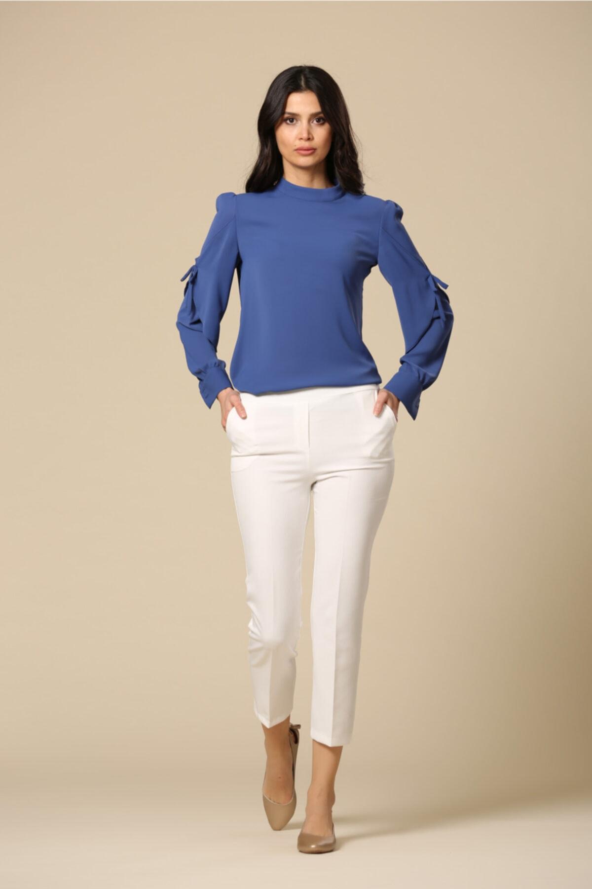 EMBENUR Kadın Ekru Pantolon 1015 2