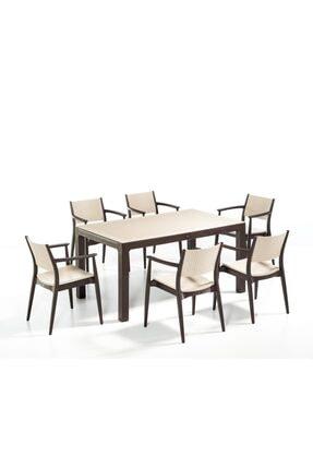 Novussi 6'lı Set Kahverengi Bahçe Masası 90x150cm
