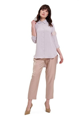 Mizalle Mızalle Dantel Detaylı Gömlek Bluz (bej)