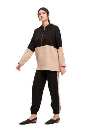 Mizalle Mızalle Fermuarlı Parçalı Sweatshirt (bej)