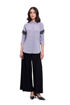 Mizalle Mızalle Dantel Detaylı Gömlek Bluz (gri)