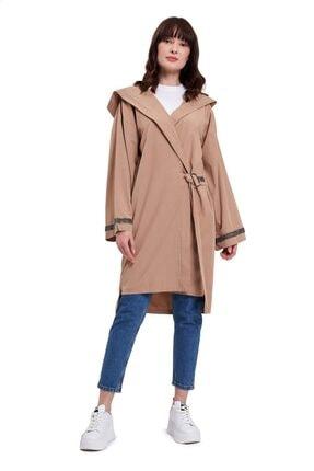 Mizalle Mızalle Kapüşonlu Süs Taşlı Tunik Boy Ceket (camel)