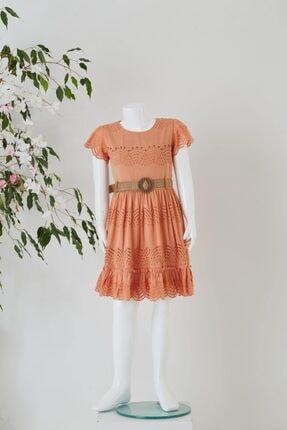 Pafim Çocuk Yavruağzı Y.kol Dantel Elbise