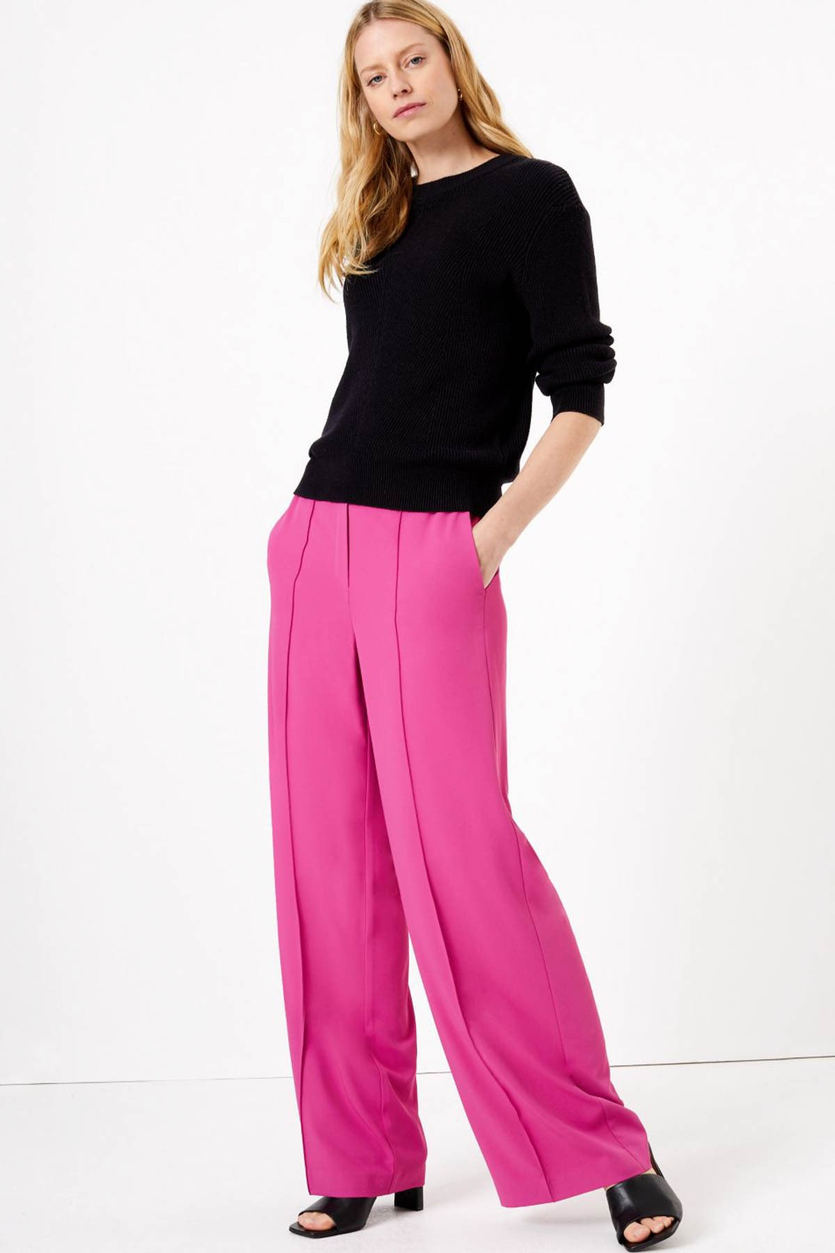 Marks & Spencer Kadın Mor Bağcıklı Wide Leg Pantolon T59006462 1