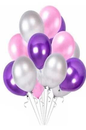 Renkli Parti Mor - Pembe- Gümüş Metalik Karışık Balon Helyumla Uçan - 30 Adet