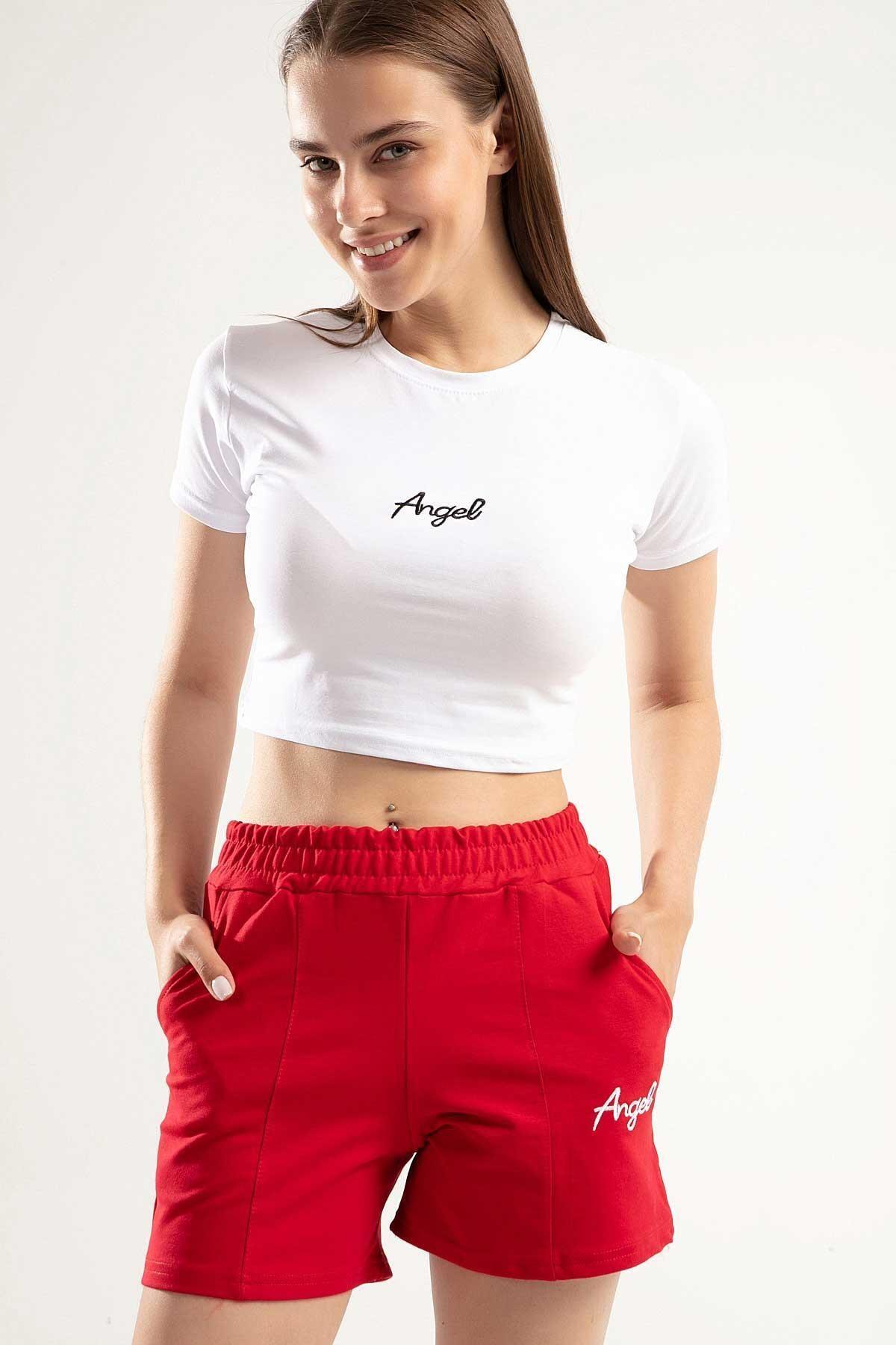 Y-London Kadın Kırmızı Angel Nakışlı Crop İkili Şortlu Takım Y20S151-1504 1