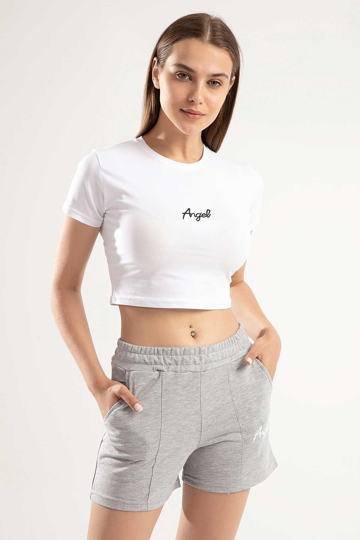 Y-London Kadın Gri Angel Nakışlı Crop İkili Şortlu Takım Y20S151-1504 1